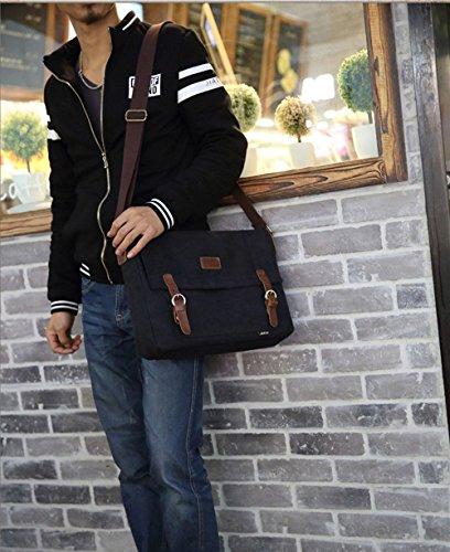 10 27 Bandolera Negro l 36 Universitarias bolsa Cm marrón Ocio w Hombre X Bolsa bandoleras Wewod Vintage h Lona qC475pwP