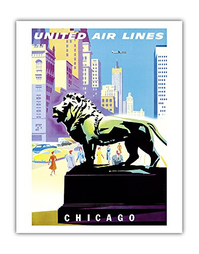 Chicago, USA - Bronze Lion Statues - Art Institute of Chicago - United Air Lines - Vintage Airline Travel Poster by Joseph Binder c.1958 - Fine Art Print - 11in x 14in