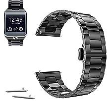 22mm Stainless Steel Butterfly Buckle Watch Band For Samsung Gear 2, Gear Neo, Gear Live (YESOO Retail Packaging - 180 Days Warranty) (Black)