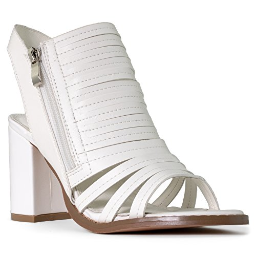 Heel Perforated With Block Bootie Sandals Chunky Leatherette Zipper Ankle ROF White Women's Caged Closure Heeled qCxwaIEgY