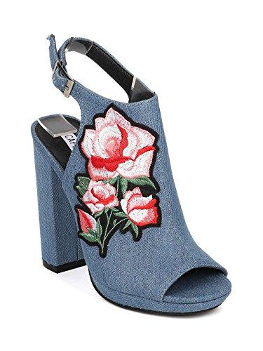 CAPE ROBBIN Women Denim Peep Toe Embroidered Block Heel Mule HJ85 - Denim (Size: 10) by CAPE ROBBIN
