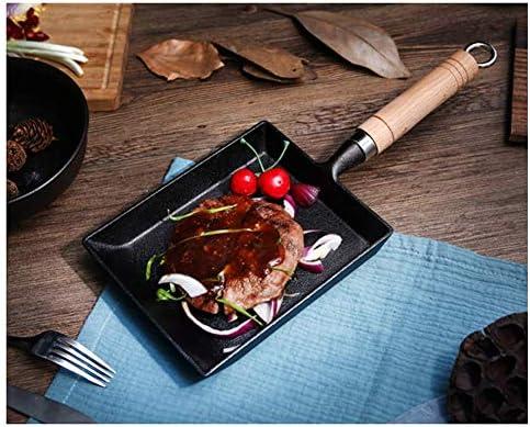 Steelpan Non-stick gebakken eieren pannenkoeken gebakken biefstuk kookpot, BBQ, picknick handig schoon te maken Wok Inductie Met houten deksel, gietijzer, zwart 15CM