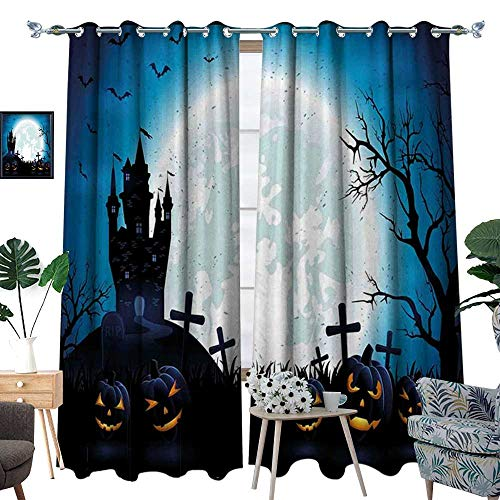 homehot Halloween Window Curtain Fabric Spooky Concept with Scary Icons Old Celtic Harvest Figures in Dark Image Holiday Print Drapes for Living Room Blue ()