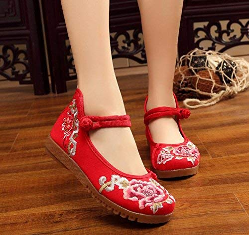 Moontang Bestickte Schuhe Sehnensohle ethnischer ethnischer ethnischer Stil weibliche Stoffschuhe Mode bequem lässig rot 42 (Farbe   - Größe   -) af2e4e