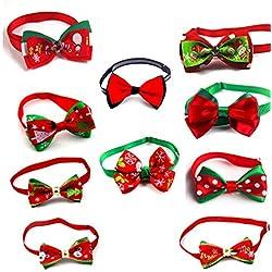 Ugood 10 X Christmas Pet Dog Cat Bowties Ties Holidays Adjustable Bow Tie Collar Groomings