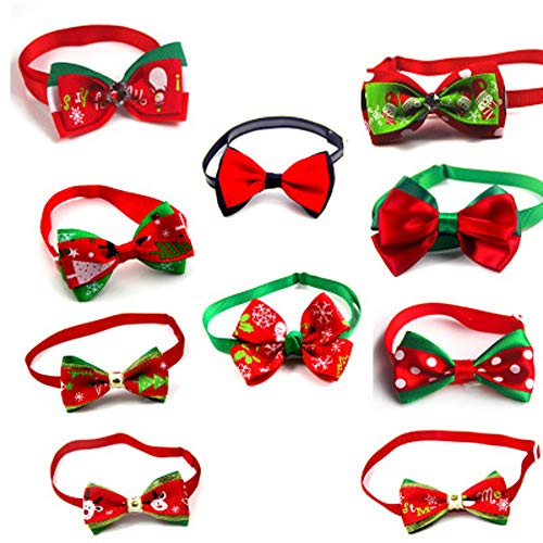 Euone  Pet Bow Tie, Dog Cat Christmas Bowties Ties Holidays Adjustable Bow Tie Collar Groomings