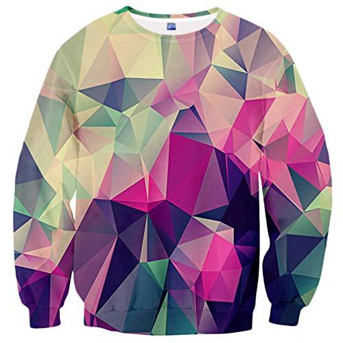 Graphic Crew Neck Sweatshirt - Yasswete Unisex Crewneck 3D Pattern Printed Long Sleeve Pullover Graphic Sweatshirts Size L