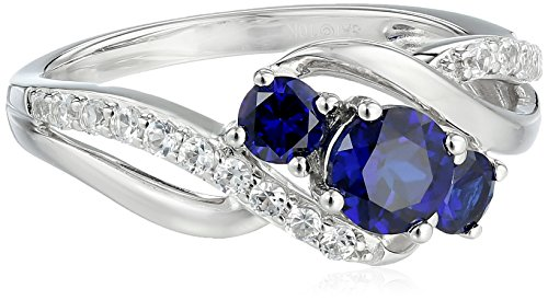 10k White Gold Created Sapphire and Created White Sapphire 3-Stone Ring, Size 7 10k White Gold Created Sapphire