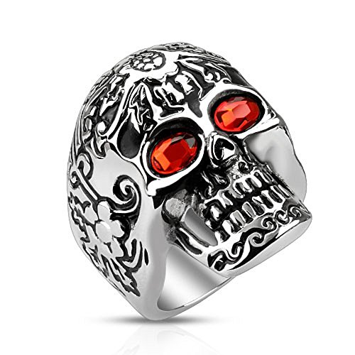 Artisan Owl Day of The Dead Sugar Skull with Red CZ Eyes Stainless Steel Cast Biker Ring (13)