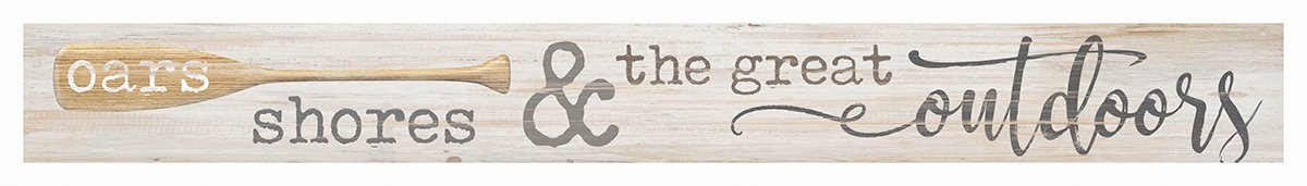 GRAHAM DUNN Oars Shores Great Outdoors Whitewash 13.5 x 1.5 Inch Wood Skinny Block Tabletop Sign P