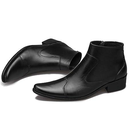 4e3216ef0e0 MERRYHE Botas Chelsea De Cuero De Plena Flor para Hombre Botas De Tacón Bajo  del Tacón Medio del Dedo del Pie Puntiagudo Zapatos Brogues Calzado Formal  De ...