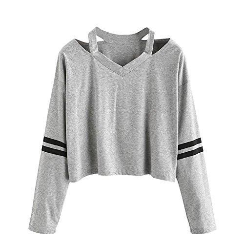 Elegante Larghi V shirt Corto Felpa Camicia Donna Neck Moda Crop Top Tumblr Magliette Abbigliamento Ragazze Solido Casual Grigio Manica Lunga T Zqz5FwI