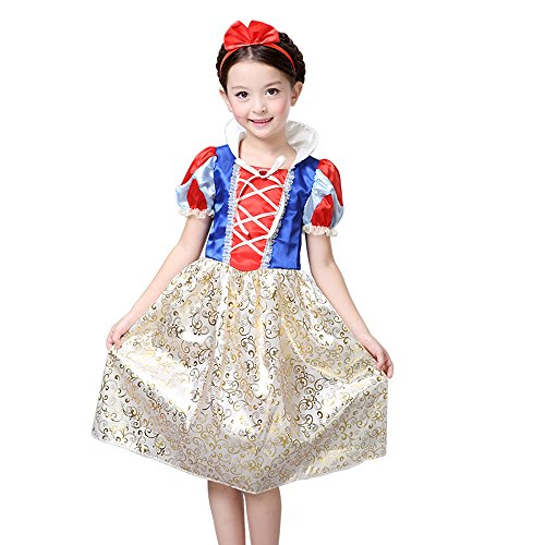 Fantastic 4 White Costume (S2 Snow White Costume Disney Princess Snow White Inspired Dress for Girls 4-10 (XL - 6x/7))