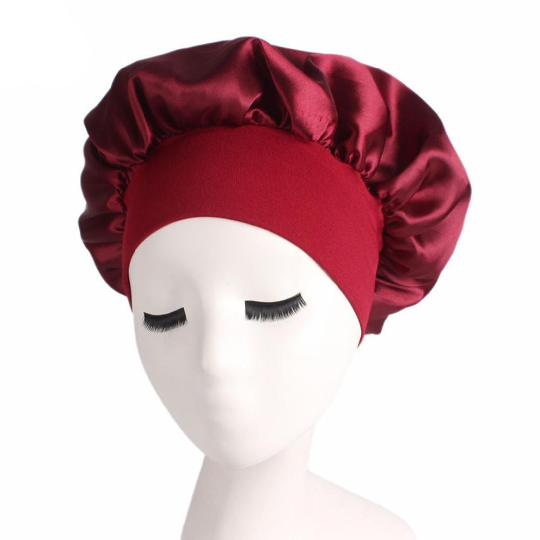 Kimloog Satin Night Sleeping Cap Full Coverage Salon Bonnet Long Hair Loss Head Cover Beanie (Red)