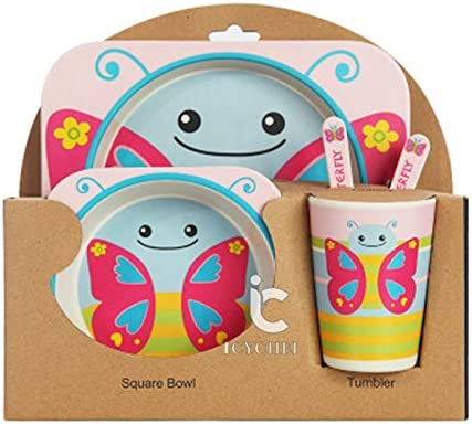 ICYCHEER 5 Pcs Kids Dinnerware Set Bamboo Durable Toddler Dinner Set Safe Feeding Set for Children princess Boys and Girls