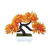 Whthteey Bonsai Tree Decorative Artificial Plant Faux Potted Plant Office Home Decor (Orange)