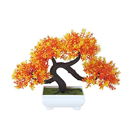 Whthteey Bonsai Tree Decorative Artificial Plant Faux Potted Plant Office Home Decor (Orange)