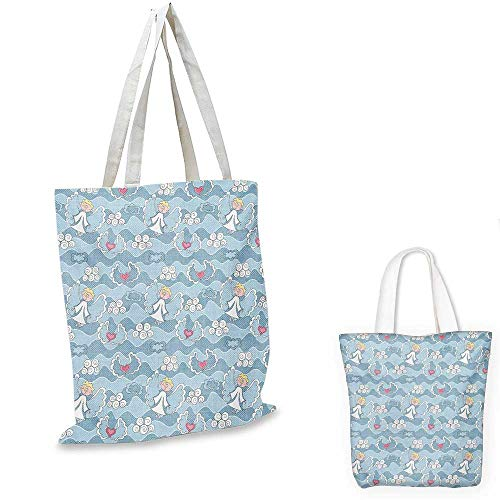 Angel fashion shopping tote bag Little Boy Hovering in the Sky Clouds with Hearts Creative Childhood Dreams canvas bag shopping Baby Blue White 12