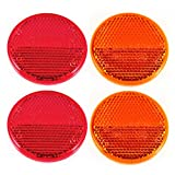 "Qty 4 (2 Red/2 Amber) - 2"" Inch Round Reflector"