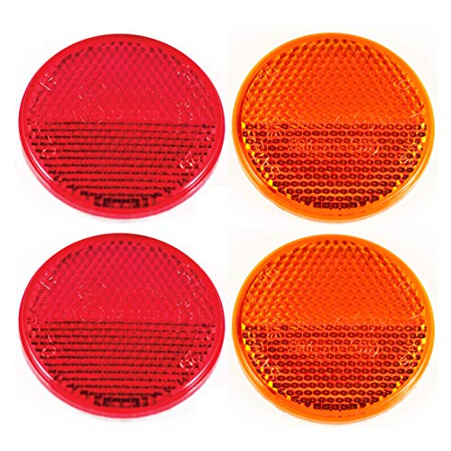 """Qty 4 (2 Red/2 Amber) - 2"""" Inch Round Reflector Bike,Trailer, Truck, Boat, Mailbox, Construction, Signage, Warning with Super Strong Adhesive DOT/SAE Approved"""