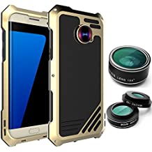 Galaxy S7 Edge Case, Amever Samsung Galaxy S7 Edge Camera Lens Kit Case 3 in 1 Fisheye + Macro + Wide Angle Camera Lens - Dustproof Shockproof Aluminum Case - Gold