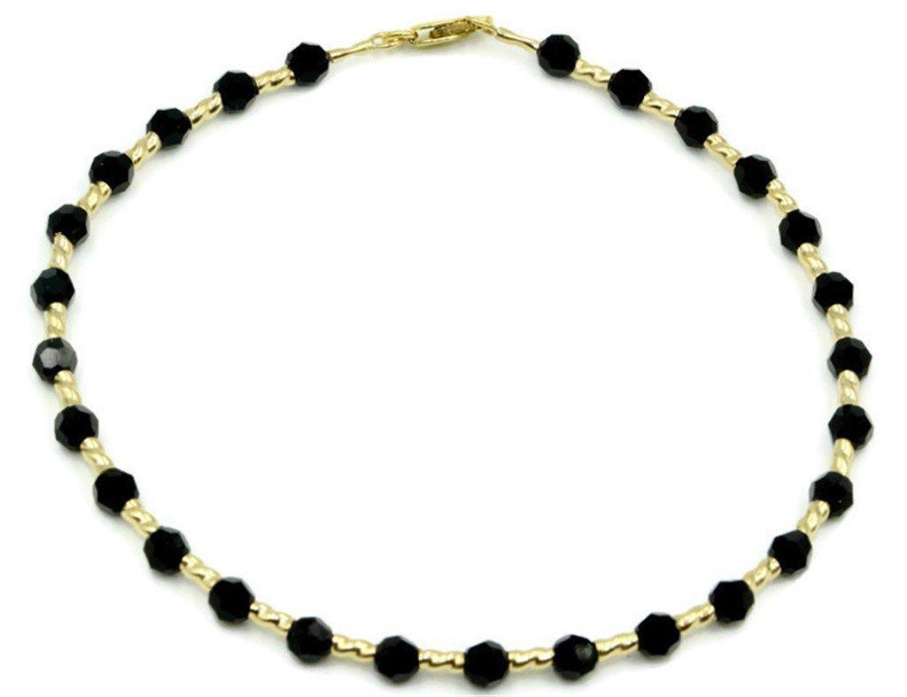 Black Onyx 8 1/2 '' Bracelet with 14k Yellow Gold Fancy Tubes