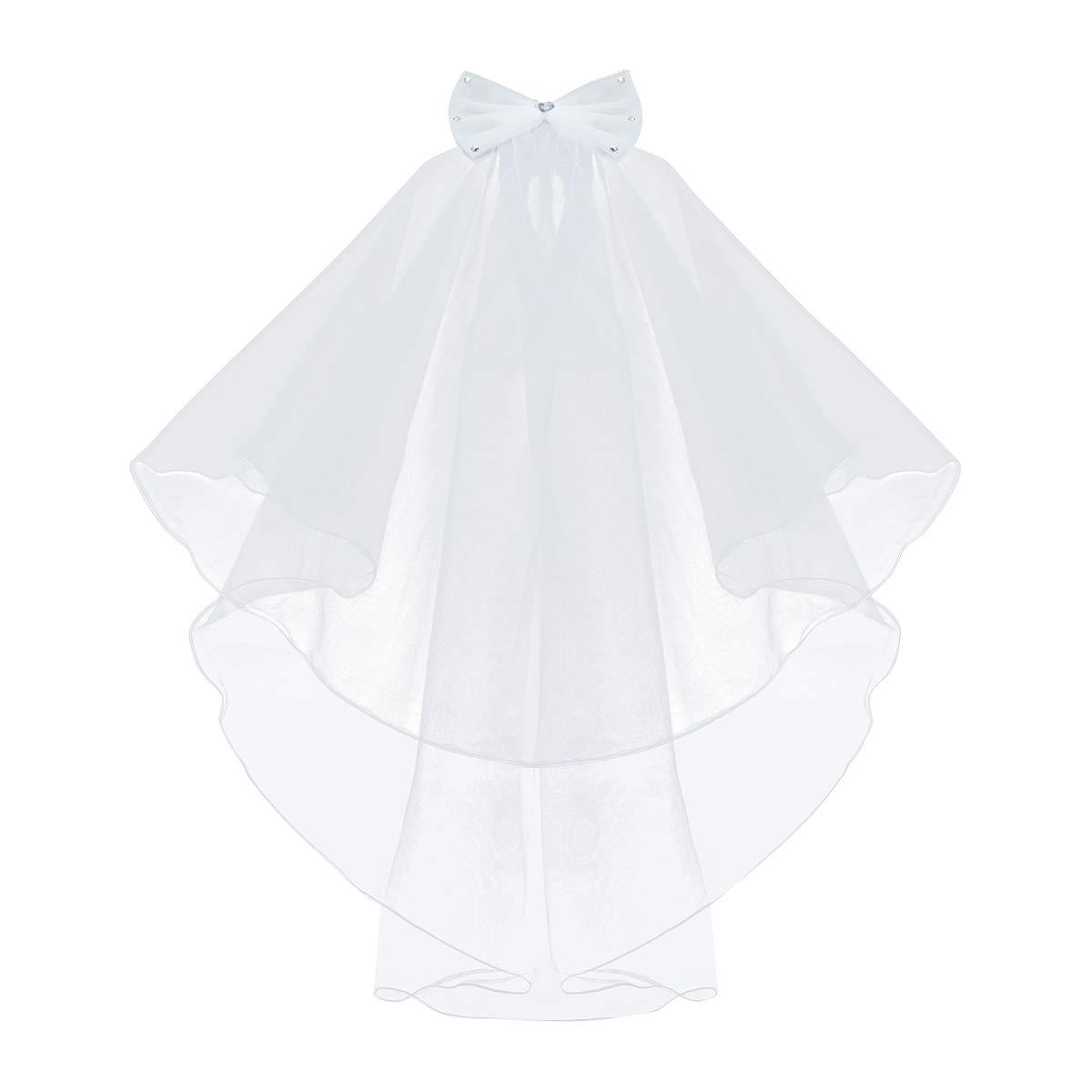 Freebily Flower Girls White Catholic Religious First Communion Veil Headband with Bow Type A One Size