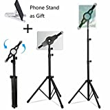 LetsRun iPad Tripod Stand, Height Adjustable Foldable Floor Tablet Tripod Stand for iPad mini, iPad Air, iPad 1,2,3,4 and all 8-12 Inch Tablets, Carrying Case and Phone Stand as Gifts