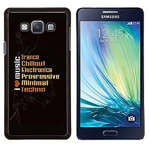 KLONGSHOP // Cubierta de piel con cierre a presión Shell trasero duro de goma Protección Caso - I Live Music - Samsung Galaxy A7 A7000 //