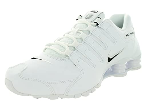 Nike Mens Shox NZ EU White Black Synthetic Leather Trainers 7.5 UK b90e5fe75
