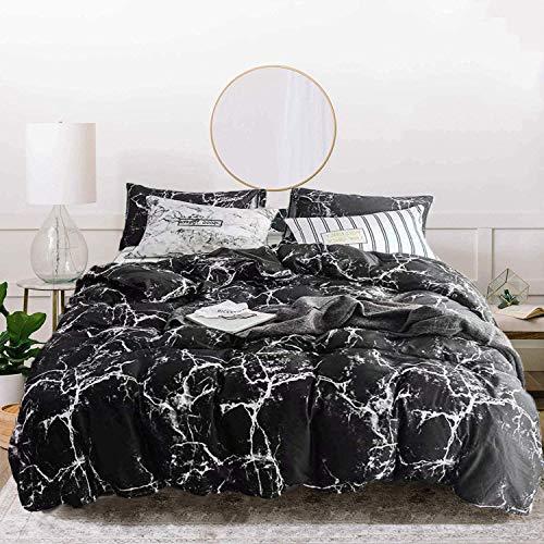 Jumeey Black Marble Comforter Set Queen Marble Comforter Set Full Size Bedding Black and Grey Comforter Cotton Boys Men…