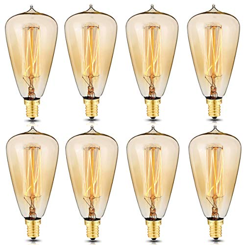 Candelabra Base Incandescent Lamp - KINGSO 8 Pack E12 Vintage Edison Light Bulbs 40W 110V Antique Dimmable Nostalgic Tungsten Filament Candelabra Base Incandescent Lamp Squirrel Cage Style Bulbs ST48 for Home Light Fixtures