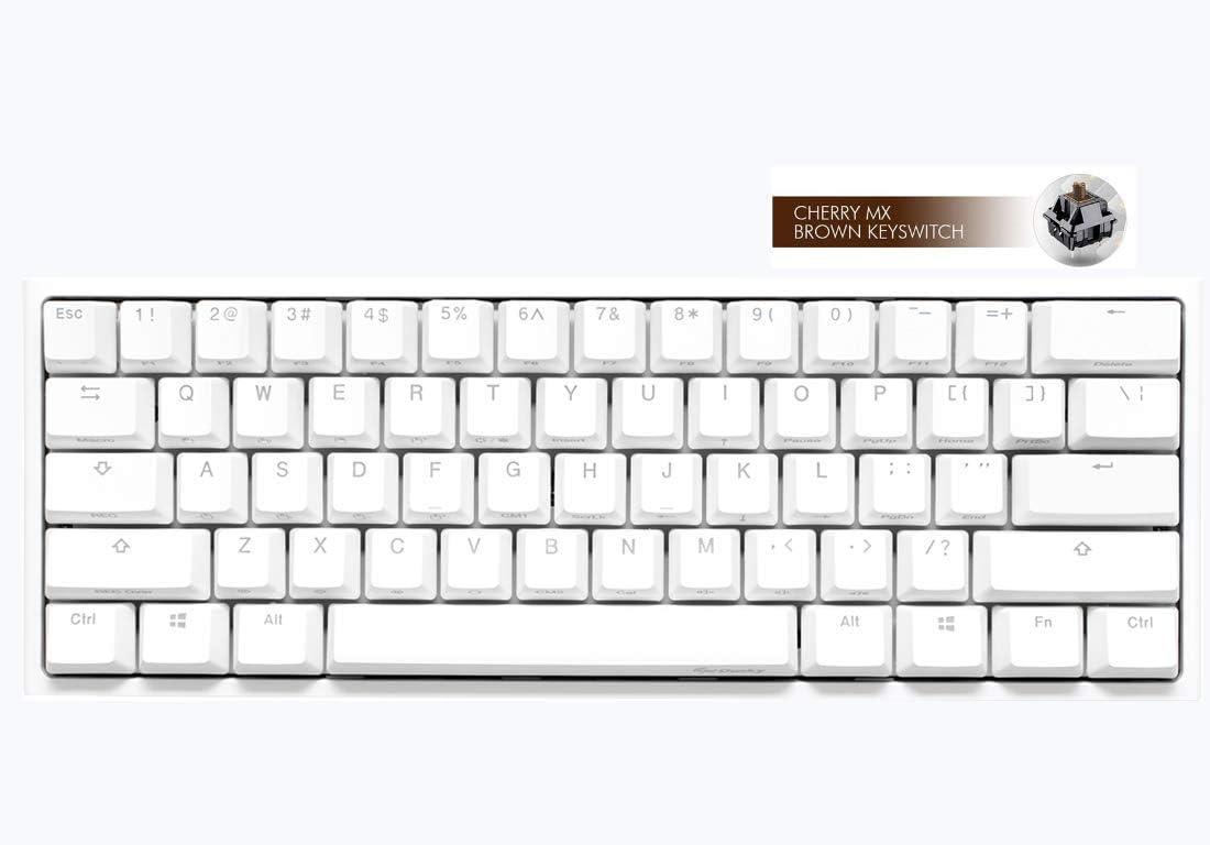 Ducky One 2 Mini LED RGB blanco puro 60% doble disparo PBT teclado mecánico año de la rata espacial (Cherry MX Brown)