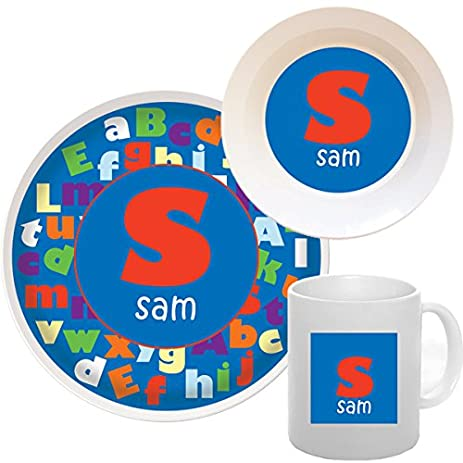 Personalized Kids Dinnerware ABC Boy Melamine Set  sc 1 st  Amazon.com & Amazon.com | Personalized Kids Dinnerware ABC Boy Melamine Set ...