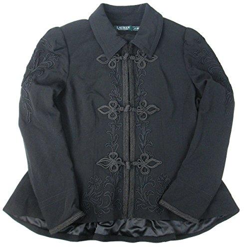 (Lauren by Ralph Lauren Women's Soutache-Trim Wool Jacket (Black, 16))