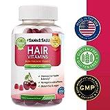 Hair Growth Vitamins Gummies with Biotin, Vegan, Gluten-Free, Stronger, Healthier, Thicker Hair Regrowth by Sana & Salu (60 pcs)