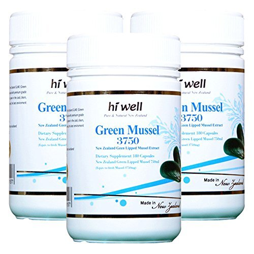 Hi Well Premium Green Lipped Mussel 3750mg 180 Capsules New Zealand Green Lipped Mussel Extract Joint Health Support & Mobility (Pack of 3)