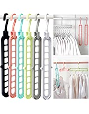 Closet Organizers and Storage, Pack of 6 Multifunctional Closet Organizer Magic Space Saving Hangers with 9 Holes Closet Storage Organization for Wardrobe Heavy Clothes,Shirts,Pants,Dresses,Coats
