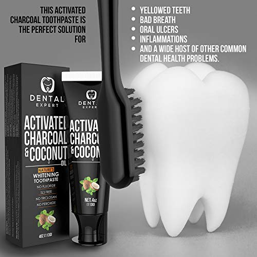 Activated Charcoal Teeth Whitening Toothpaste - DESTROYS BAD BREATH - Best Natural Black Tooth Paste Kit - MINT FLAVOR - Herbal Decay Treatment - REMOVES COFFEE STAINS, 4oz
