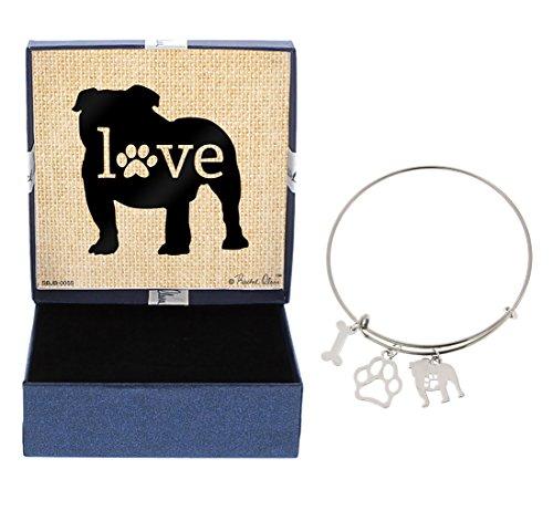 Bulldog Bracelet Gift Love Dog Breed Adjustable Bangle Charm Silver-Tone Bracelet Gift Bulldog Owner Jewelry Box Keepsake Idea A Rescue Dog Mom