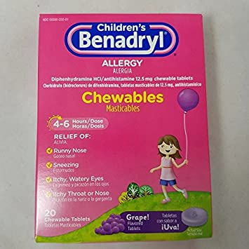 Benadryl Childrens Allergy Chewables, Grape, 20 Count (4 Pack)