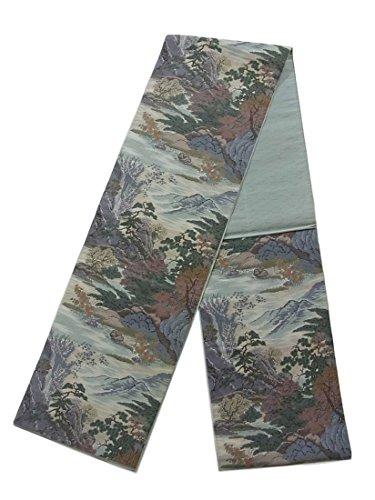 湿地破壊友だちリサイクル 袋帯 松や紅葉に岩山の風景 正絹 六通