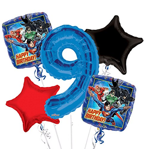 Justice League Happy Birthday Balloon Bouquet 9th Birthday 5 pcs - Party Supplies (Bouquet Balloon League Justice)