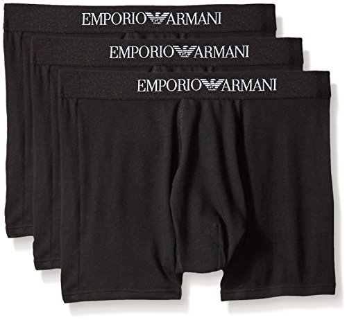Emporio Armani Men's Cotton Boxer Briefs, 3-Pack, New Black, Large Armani Underwear For Men