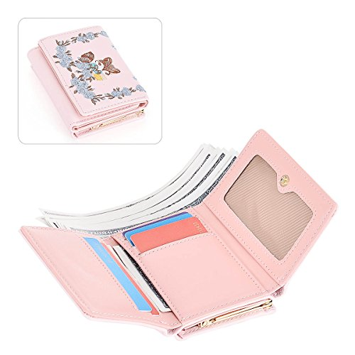 Women PU Leather Cute Small Wallet Card Holder Short Trifold Wallet Lady Coin Purse Little Fox Embroidery