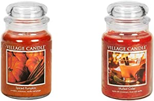 Village Candle Spiced Pumpkin 26 oz Glass Jar Scented Candle, Large & Mulled Cider 26 oz Glass Jar Scented Candle, Large