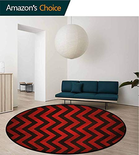 RUGSMAT Maroon Round Kids Rugs,Chevron Zig Zag Stripes Learning Carpet Non Skid Nursery Kids Area Rug for Playroom Round-47 Collection Multi Contemporary Stripe Rug