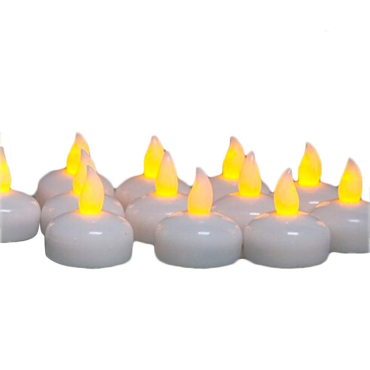 LED Floating Candle, Waterproof Flickering Tea light Candles by Glowseen- Water activated Candle- Yellow-Pack of 14