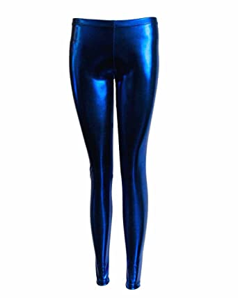 5fd863fe93e0d Metallic Blue Shiny Liquid Leggings Full Length at Amazon Women's ...