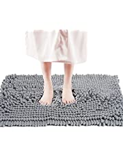 """FRESHMINT Chenille Bath Rugs Extra Soft Fluffy and Absorbent Microfiber Shag Rug, Non-Slip Runner Carpet for Tub Bathroom Shower Mat, Machine-Washable Durable Thick Area Rugs (20"""" x 32"""", Light Gray)"""